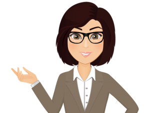 cartoon image of a woman with glasses